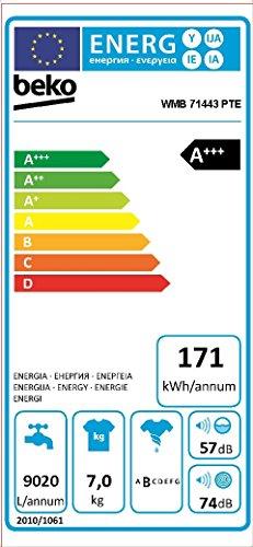 Beko WMB 71443 PTE Waschmaschine Frontlader / A+++ / 1400 UpM / 171 kWh/Jahr / 7 kg / Weiß / Wasserverbrauch: 41 L / Digitales Display / Zusatzfunktion gegen Tierhaare -