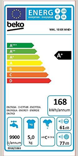 Beko WML 15106 MNE+ Waschmaschine FL / A+ / 168 kWh/Jahr / 1000 UpM / 9900 L/Jahr / 5 kg / weiß / Nur 41 cm tief -